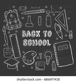 back to school concept with school icons or supplies using doodle style on chalkboard background