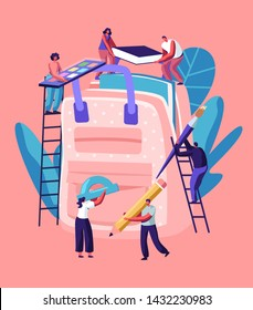 Back to School Concept, Male and Female Characters on Ladders Put Huge Accessories into Backpack. People Holding Pencil, Paints, Book, Brush, Straightedge, Education. Cartoon Flat Vector Illustration
