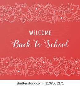 Back to school - concept of a poster with text and funny sketch. Vector.
