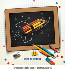 Back to school concept with rocket made from pencils over chalkboard background, vector illustration