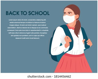 back to school concept, schoolgirl with protective face mask and going to school during coronavirus. New normal for education. blonde girl going to school, flat illustration. COVID-19 education banner