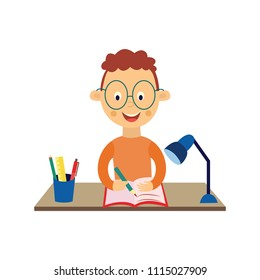 Back to school concept with smiling little schoolboy sitting at desk with opened note pad and writing with pen or pencil isolated on white background - flat cartoon vector illustration of student kid.