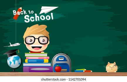 Back to school concept of student with book in the classroom vector illustration