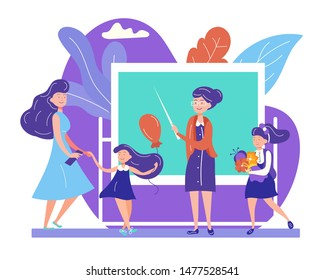 Back to School Concept with Teacher Stand at Blackboard with Pointer Meeting Kids Coming with Parents and Flowers to Class. September Beginning of Educational Year Cartoon Flat Vector Illustration