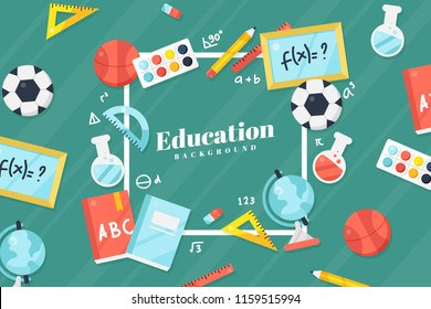 Back to school concept - vector background with education icons