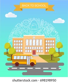 Back to school concept vector poster. School bus with building on background. City primary and high school. Education banner in flat cartoon style.