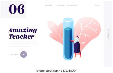 Back to School Concept for Website Landing Page. Young Woman Teacher of Chemistry Holding Huge Flask for Class Experiences on Lesson, Education Web Page Banner. Cartoon Flat Vector Illustration