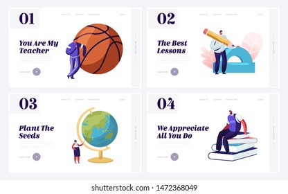 Back to School Concept for Website Landing Page Set. Teachers with Educational Tools. Geography Physical Culture Mathematics Literature Language Web Page Banner. Cartoon Flat Vector Illustration