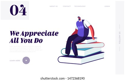 Back to School Concept for Website Landing Page. Male Teacher Character Sitting on Pile of Books in Class Room Conducting Lesson. Education Process Web Page Banner. Cartoon Flat Vector Illustration