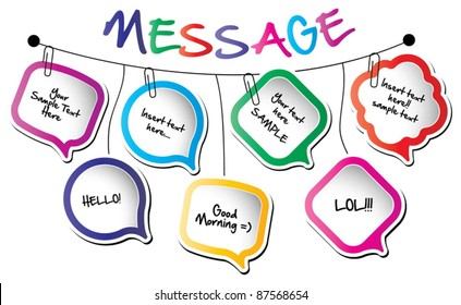 Back to school concept-wall hanging message bubbles