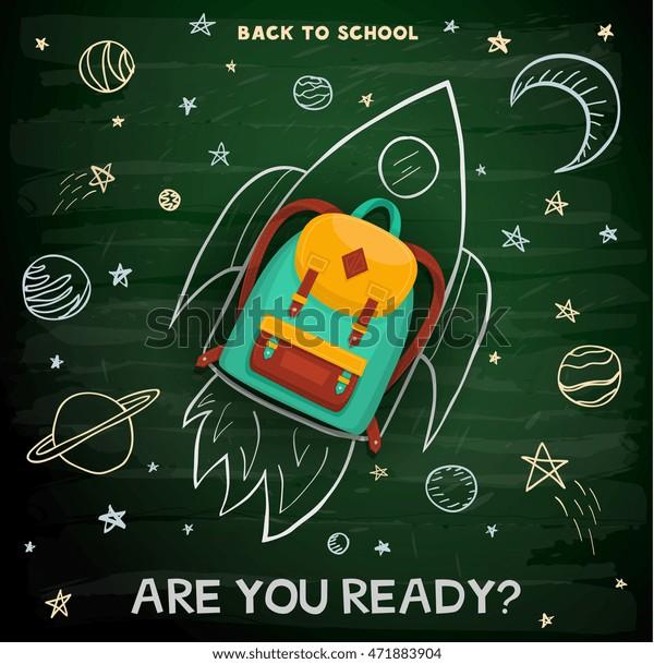 Back to school creative background. School backpack on rocket.