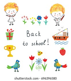 Back to school cute background with kids, flowers and objects, vector graphic illustration