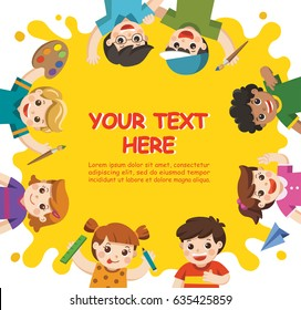 Back to School. Cute children have fun and ready to get painting together. Template for advertising brochure. Children look up with interest.