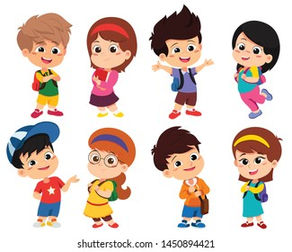 Back to school. Cute kids standing with different pose.vector and illustration.
