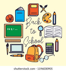Back to school. cute school supplies icons that can be used for school themes. vector illustration