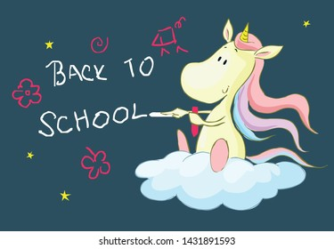 Back to school with cute unicorn cartoon  - vector Illustration
