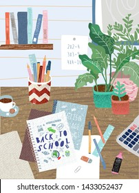 Back to school Cute vector illustration for poster, background, banner or card, freehand drawing of the schoolboy's desk with lessons, textbooks, stationery, calculator and notebook.Welcome to study.