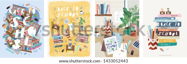 Back to school! Cute vector illustrations for a poster, banner or card with objects: background with text, school, desk with lessons, stationery, books, textbooks, pen, ruler, marker, eraser