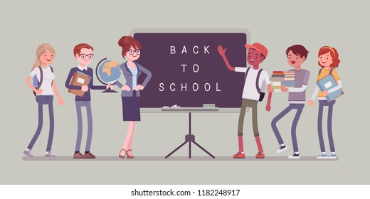 Back to school day. Students and teacher stands at blackboard. University, college pupils happy to start a year. Professional education and learning concept. Vector flat style cartoon illustration