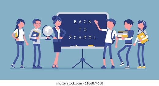 Back to school day. Students and teacher stands at blackboard. University, college pupils happy to start a year. Professional education and learning concept. Vector illustration, faceless characters