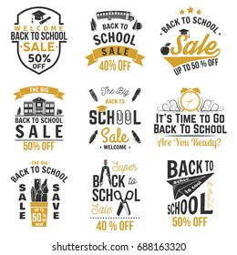 Back to School design. For advertising, promotion, poster, flier, blog, article, social media, marketing or banner. Vector illustration. Badges with school supplies and Back to School Sale text.