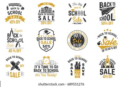 Back to School design. For advertising, promotion, poster, flier, blog, article, social media, marketing or banner. Vector. Vintage typography design with school supplies and Back to School Sale text.