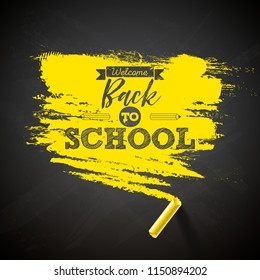 Back to school design with chalk and typography lettering on black chalkboard backgroundVector illustration for greeting card, banner, flyer, invitation, brochure or promotional poster.