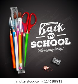 Back to school design with colorful pencil, pen and typography lettering on black chalkboard background. Vector illustration with ruler, scissors, paint brush for greeting card, banner, flyer