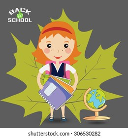 Back to school design. a girl student stands with the books - Vector illustration