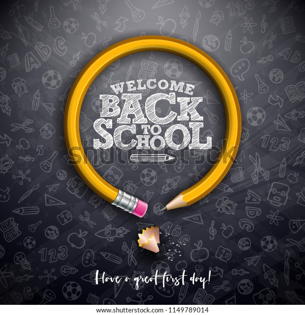 Back to school design with graphite pencil and typography lettering on black chalkboard background. Vector School illustration with hand drawn doodles for greeting card, banner, flyer, invitation