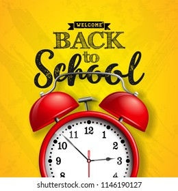 Back to school design with red alarm clock and typography on yellow background. Vector illustration for greeting card, banner, flyer, invitation, brochure or promotional poster.