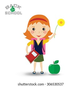 Back to school design. schoolgirl with book and flower - Vector illustration
