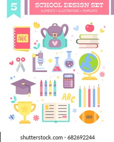 Back to school design set of cartoon education items in flat style isolated on white background