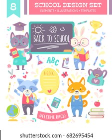 Back to school design set with cute cartoon animals characters and study items for kids