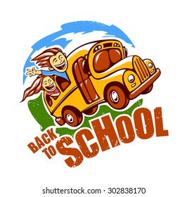 Back to school design template. Funny school bus with children rides to school. Vector art.
