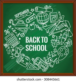 Back to school. Different drawing objects on green blackboard. Vector illustration. EPS 10