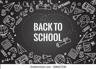 Back to school. Different drawing objects on dark blackboard. Vector illustration. EPS 10
