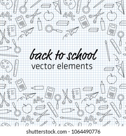 back to school - different vector elements