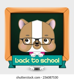 Back to School Dog Vector Illustration