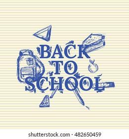 Back to school doodle background illustration