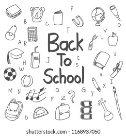 Back to school doodle, clipart, ideas, style