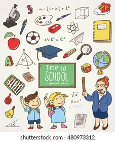 Back to school doodle elements vector
