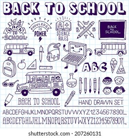 Back to school doodle icons lettering signs set and two alphabets on school notebook. Hand drawn vector illustration.