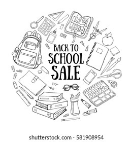 Back to school doodle illustration template isolated on white background. Sketchy vector concepts with stationery for graphic design, web banner and printed materials.