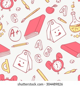 Back to school doodle objects background. Hand drawn school supplies seamless pattern. Vector illustration