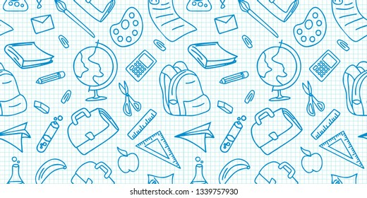 Back to school doodle pattern. Vintage drawing of hand drawn object stationary of pencil, pen, book, bag, and ruler vector illustration. Blue color paper background, good for fabric, wrapping print.