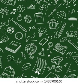 Back To School Doodle Seamless Pattern. Back To School Sketch Chalkboard Doodles. Hand Drawn Background School Concept