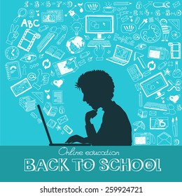 Back to school - doodle set, colored icons flat. Online education concept, silhouettes of students. Hand drawn vector illustration.