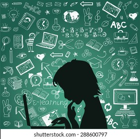 Back to school - doodle set, concept background education. Isolated on white background. Silhouette student with a laptop.