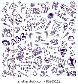 Back to school doodle set notebook. Vector illustration.